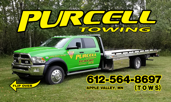 Purcell Towing LLC. Apply Valley, MN. 612-564-8697